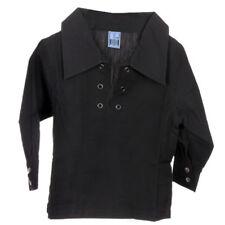 New For Kilts Scottish Boys Deluxe Ghillie Shirt in Black Age Range of Sizes