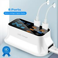 8, 6 Ports Quick Charge 3.0 Led Display USB Charger Android iPhone Adapter Phone