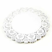 "100x 9.5""(24cm) Round White Paper Doilies Lace Pattern Coasters Table Mats Cover"