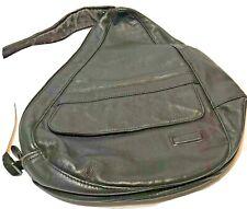 LL Bean Vintage Traveler Ameribag Black Leather Sling Backpack Healthy Back Bag