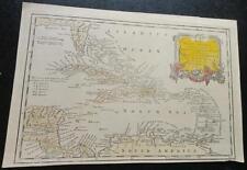 ORIGINAL c. 1771 Hand Colored Map of West indies, Florida,Coastal Georgia,S. Am.