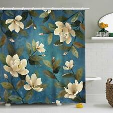 Nice Magnolia Watercolor Floral Farmhouse Waterproof Fabric Shower Curtain