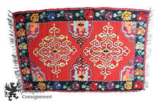 """Semi Antique 4'9"""" x 7'4"""" Turkish 100% Wool Kilim Area Rug Mat Red Roses Floral"""