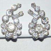 Vintage prong set clear rhinestone paisley shape climber clip earrings, 1960s