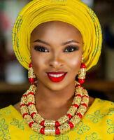 Dubai Gold Bold Necklace Set Red African Beads Wedding Nigerian Jewellery Set