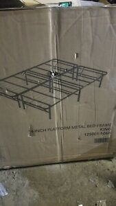 Platform King Size Bed Frame 14 Inch Mattress Foundation Heavy Duty Metal Steel