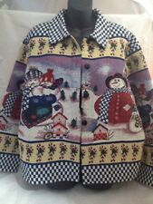 WILLOW RIDGE WOMENS LG BLUE/WHITE SNOWMAN/CANDY CANE TAPESTRY XMAS SWEATER