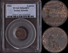 IONIAN ISLANDS (BRITISH COLONIES) LEPTON 1862 (PCGS MS64BN) *PREMIUM QUALITY*