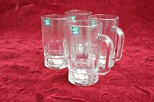 4 x 410ml Glass Beer Mug w/Large Handle Bar Clear Mugs Party