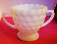 Vintage Milk Glass Bubble Pattern Open Sugar Bowl Double Handle Anchor Hocking