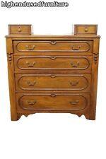 """Antique Victorian Walnut 40"""" Four Drawer Chest w/ Glove Boxes"""
