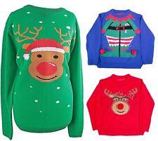The Christmas Workshop Girl's Reindeer Head Long Sleeve Jumper Red 3-4 Years
