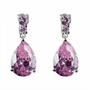 New Silver White Gold Plated Pink Crystal CZ Teardrop Stud Dangle Drop Earrings