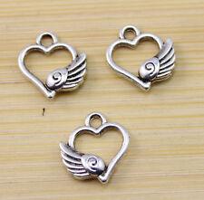wholesale:40/80/150 pcs  Very lovely Tibet silver Heart wings charm pendant