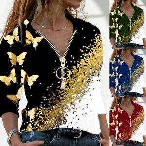 Womens Floral Shirt Blouse Sweatshirt Long Sleeve Tee Loose Zipper Ladies Tops