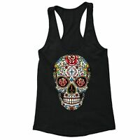 Sugar Skull Day of the Dead Racerback Flowers Mexican Gothic Dia Muertos Tank