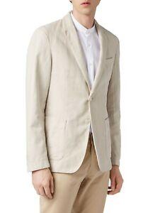 Hugo Boss Men's 'Hanry1-D' Slim Fit Beige Linen Cotton Sport Coat Blazer, 38R