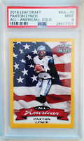"PSA 9/ MINT! 2016 Leaf Draft PAXTON LYNCH ""All-American GOLD"" Rookie Card #AA-10"