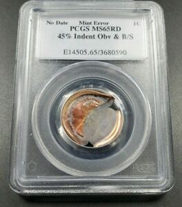 45% Indent + BroadStrike Error Coin ND Zinc Lincoln Memorial Cent PCGS MS65 RD
