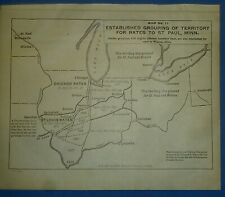 1922 RAILROAD Map ~ TERRITORY RATES to St. PAUL, MINNESOTA