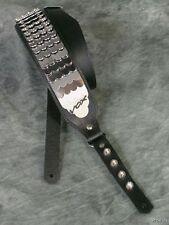 """VOX Black Leather Python 2"""" Guitar Bass Strap 25 Armored Chrome Plates V822"""