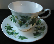QUEEN ANNE GRAPE VINE 8640 GREEN FLORAL FINE CHINA ENGLAND CUP AND SAUCER