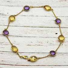 Amethyst Citrine Beaded Anklet 18 KT Yellow Gold Plated Sterling Silver