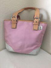 Coach Pink Canvas with Leather Trim  Tote Satchel Shoulder Handbag 5174