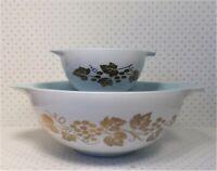 Pyrex Cinderella Bowl Chip & Dip Set Golden Grapes w/ Delphite Blue #441 #444