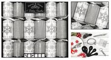 6 Deluxe Christmas Crackers - Silver Glitter Snowflake Design