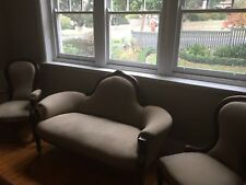Victorian antique chaise and Grandfather and Grandmother chairs SET Circa1880's