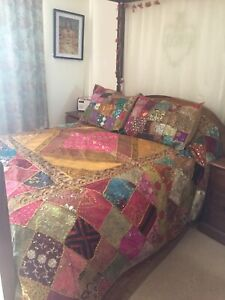 Sari Bedspread Throw with Pillow Shams And Cushion Covers