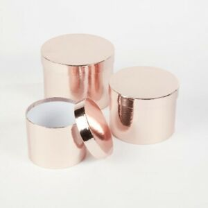 Sheen Lined Oasis® Flower Hat Boxes Set of 3 Round Rose Gold Hat Box Gift
