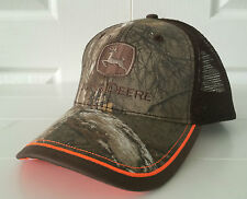 John Deere Realtree Hardwoods Camo & Brown Mesh w Orange Details Hat Cap