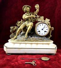 DESKTOP CLOCK. GOLDEN BRONZE AND ALABASTER. DUFAUD. PARIS. XIX CENTURY.