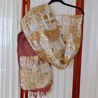 Women's OBI SASH Vintage Antique Gold & Silver Metallic Threads BONSAI Trees 138