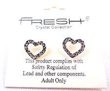 Rhinestone heart earrings open heart outline love Valentine's Day Fresh
