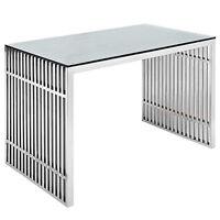 "Stainless Steel Office Desk / Dining Table Glass Top Modern Rail Grid Slat 59"" W"