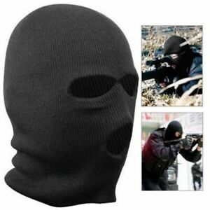 BLACK BALACLAVA MASK 3 HOLES SAS STYLE ARMY SKI FULL FACE NECK WARMER PAINTBALL