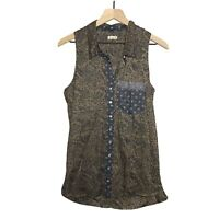 Intimately Free People Sleeveless Button Top Size XS Brown Women's Boho Printed