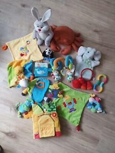 16 tlg. Spielzeugpaket Schmusetuch Stoffbuch Babyschale Spielzeug Stofftiere uvm