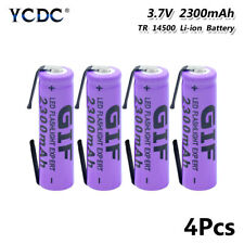 Rechargeable Li-ion 14500 Battery With Tabs For Flashlight 3.7V 2300mAh 4Pcs 5F