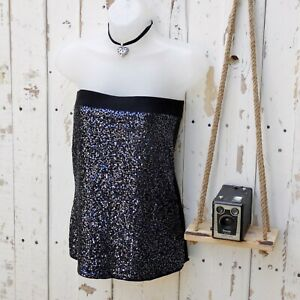 AMISU Gothic Black Boob Tube Bandeau Top Sequins Size Small y2k 90s style