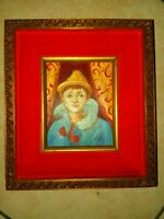 Vintage Oil Painting on wood board ,Signed
