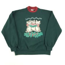 VTG 90s Crew Neck Sweatshirt Women's Large Cats Christmas Caroling Graphic Cute