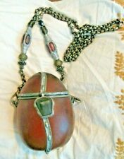 Vintage Maya Evangelista Resin Ostrich Egg Purse, Silver Tone Crossbody Handles