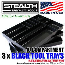 STEALTH SPECIALTY TOOLS 3 x 10 Compartment Black Tool Tray Drawer Organisation