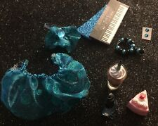 LPS-Teal Blue Sparkle Outfit Phone Bow Collar Coke Bottle Accessories Littlest