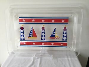 Lighthouse Sailboat Plastic Serving Tray