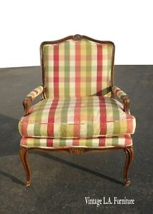 Vintage French Country Red & Green Plaid Accent Chair w Down Cushion
